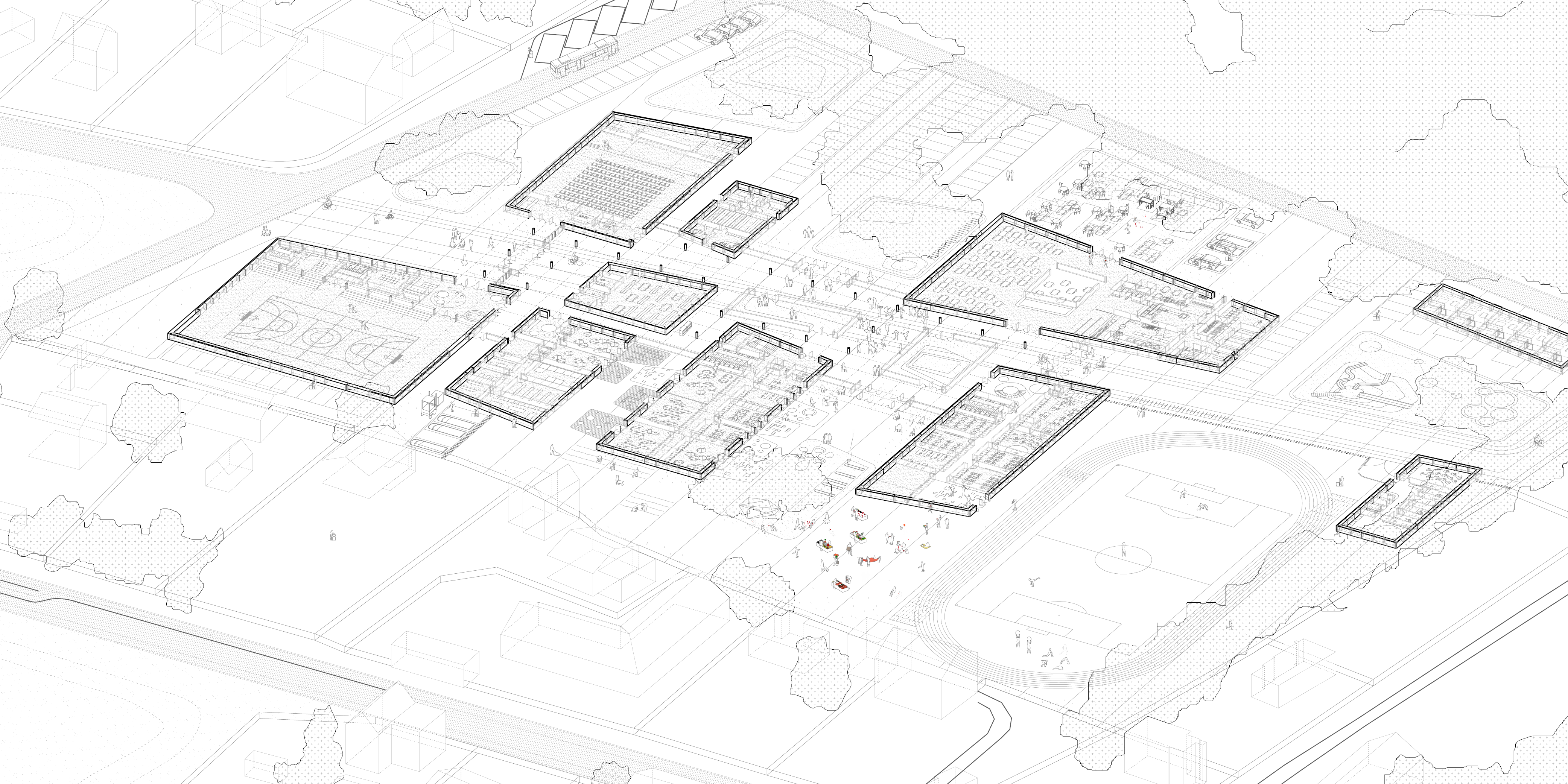 General plan of the school grounds in aerial perspective