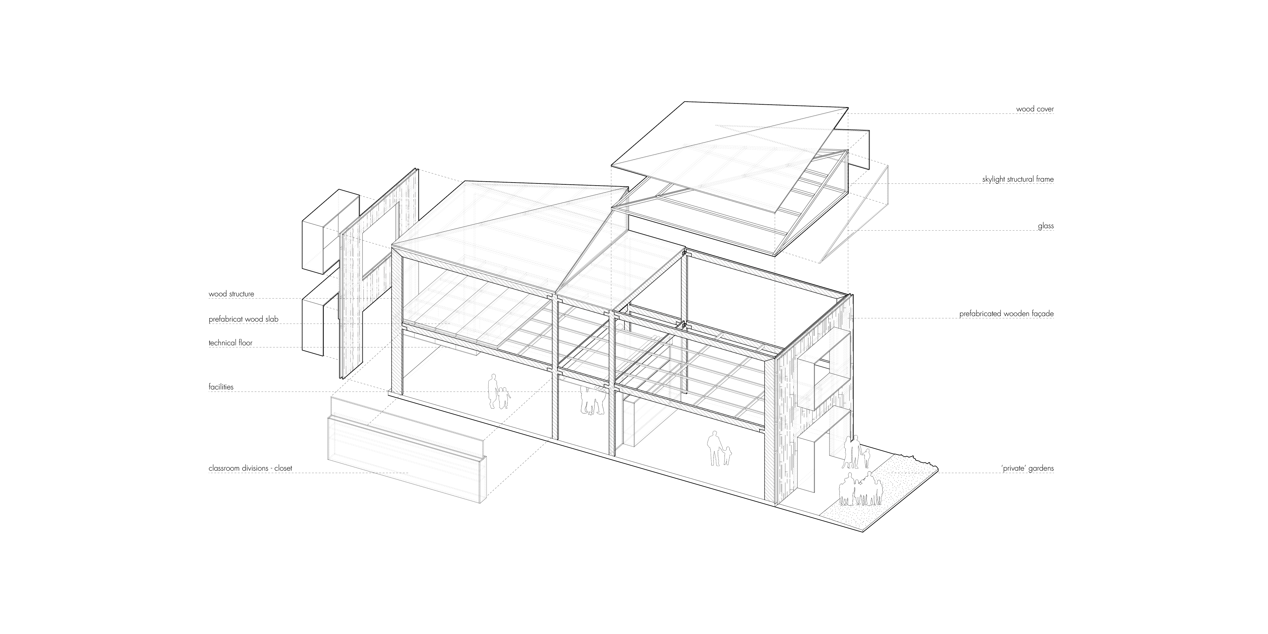 Construction drawing of a school module