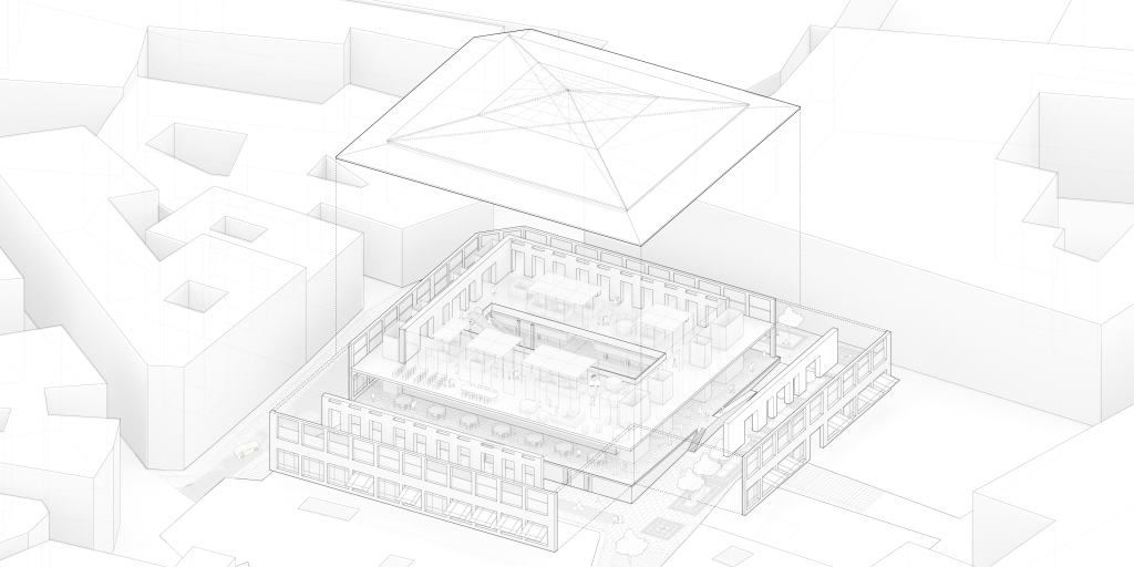 Axonometric drawing of the whole project showing the elements which compose the building