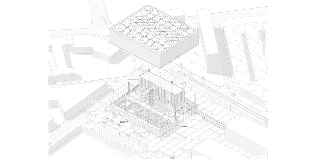 Axonometric perspective of the building and the surrounding area