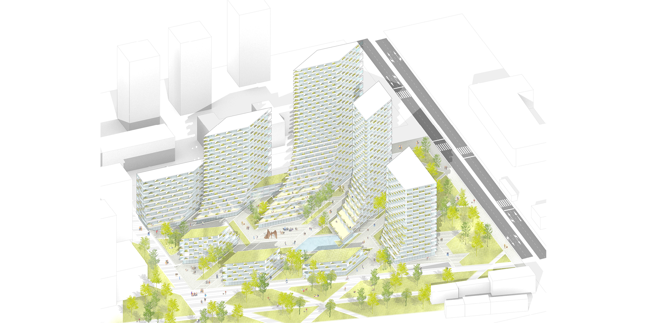 OCA architects Barcelona Prague House of Arboretum residential housing project Hernan Lleida Ruiz Bernardo Garcia Morales o