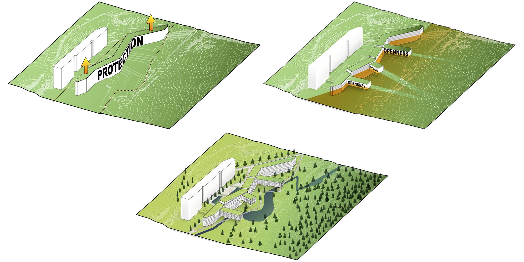 Concept diagrams developing the chosen design aprach