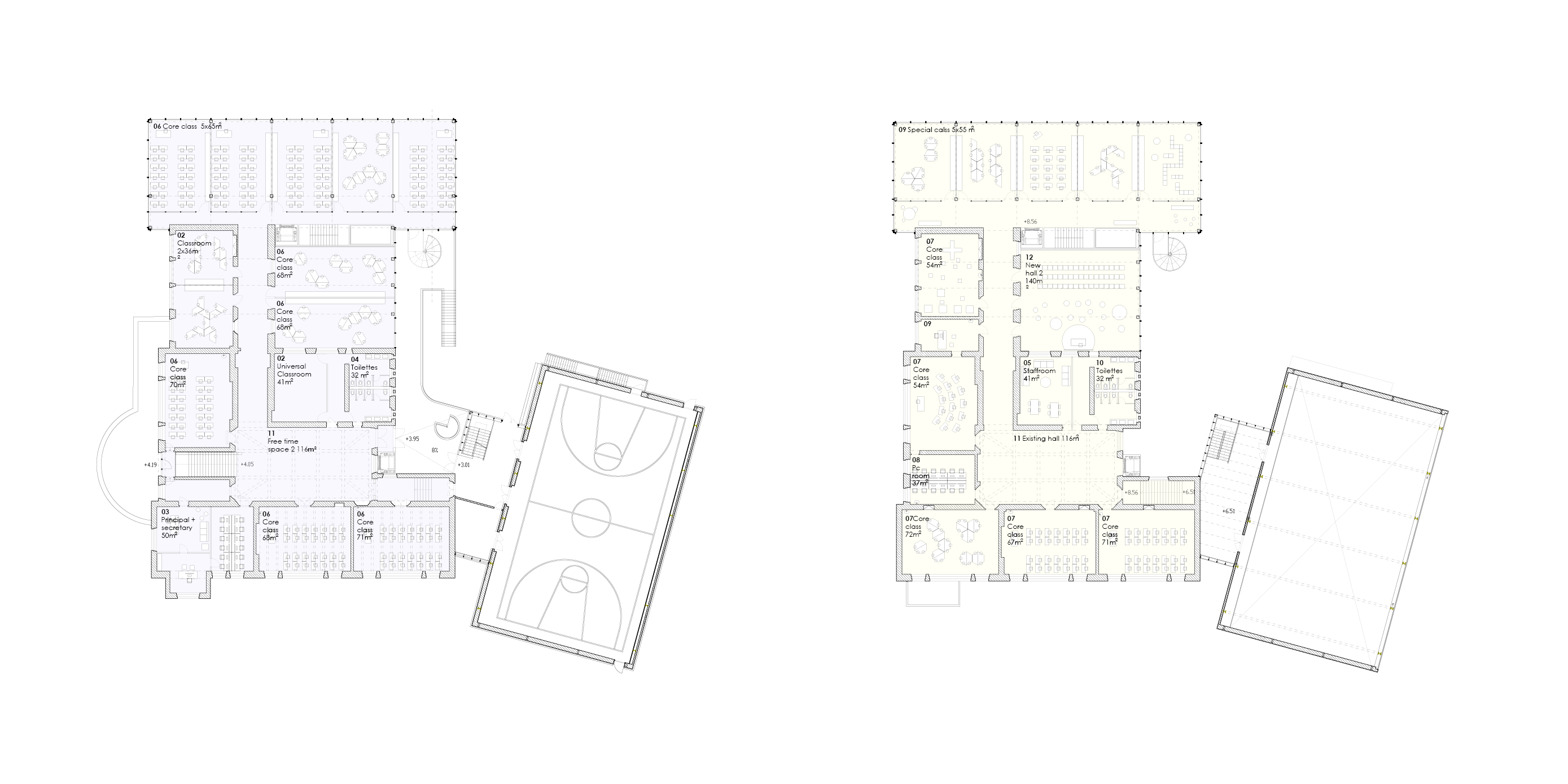 First and second floors plans