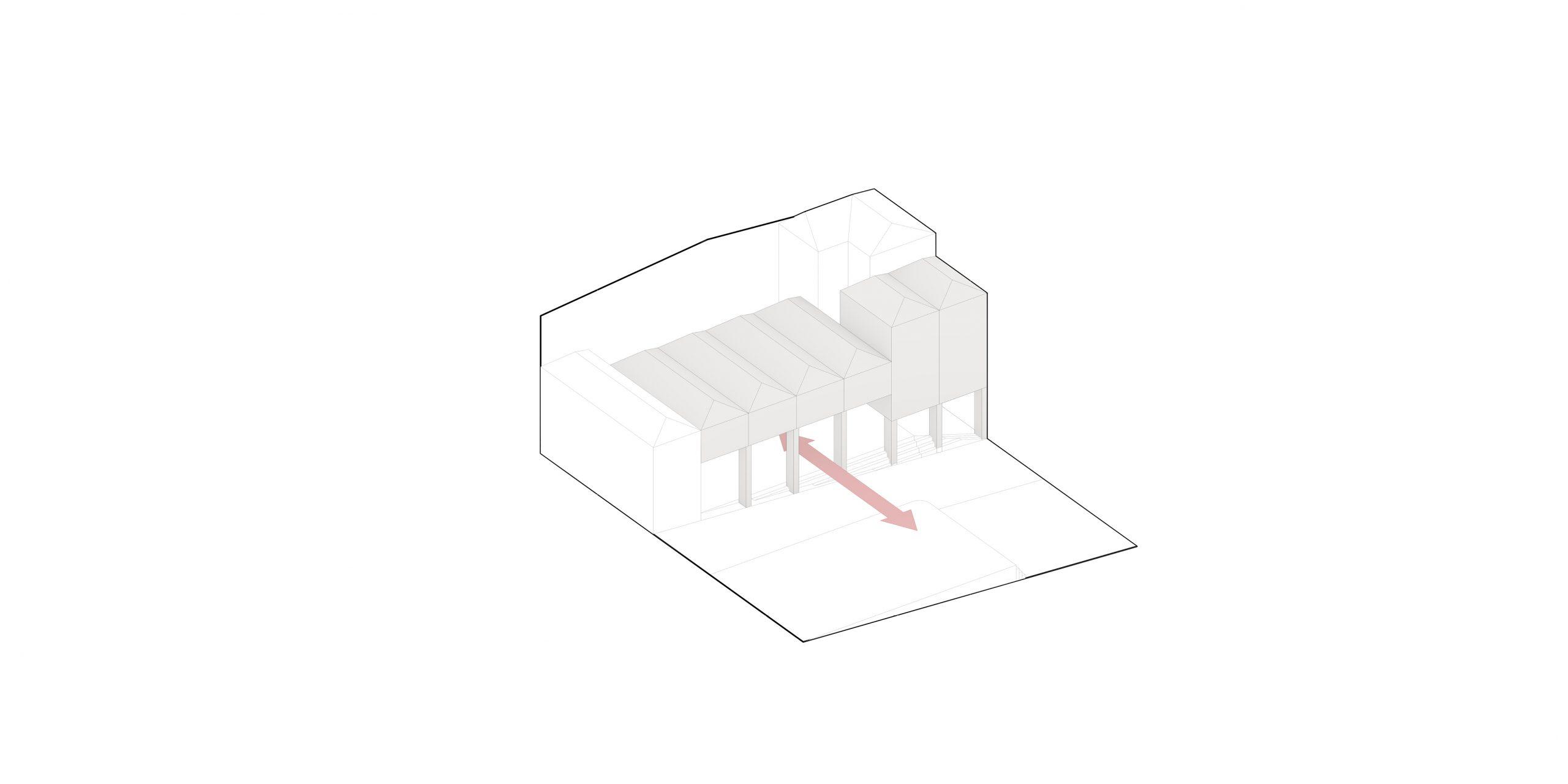 Conexión con la Plaza de la Iglesia a través de pórticos