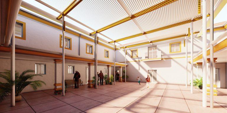 Nueva pérgola bioclimática para residencia de ancianos en Fuengirola, Málaga OCA Architects Arquitectura architecture Hernan Lleida Bernardo Garcia